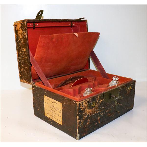 1893 FRENCH WOODEN LOCK BOX HEIRLOOM CHALICE BOX