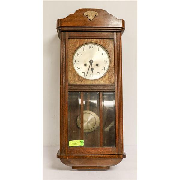 1930S  KIENZLE WALL CLOCK WOODEN CASE BEVELED