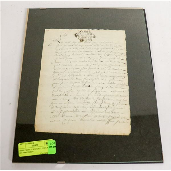 1600S FRENCH HISTORIC DOCUMENT ON PARCHMENT