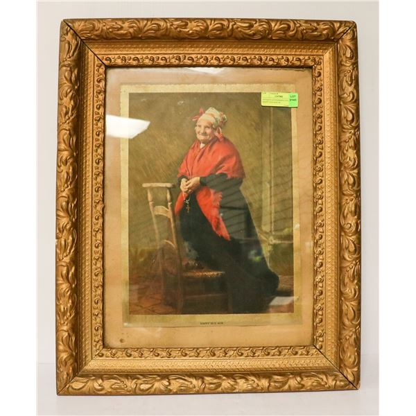 ANTIQUE LITHOGRAPH TITLED HAPPY OLD AGE IN
