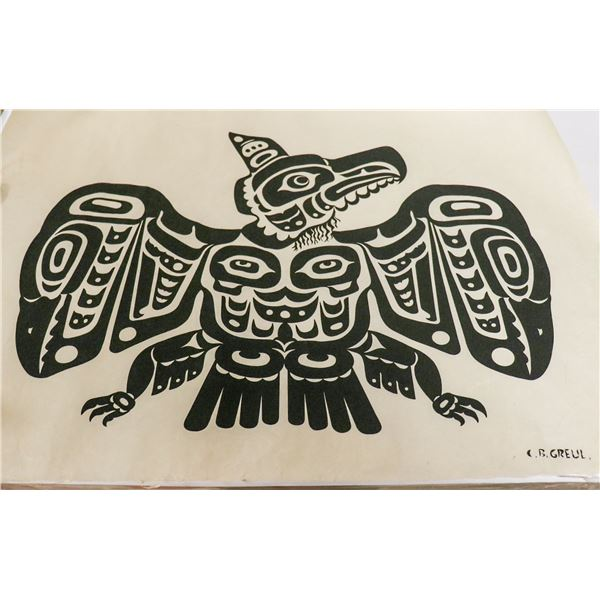 1940S SIGNED HAIDA ART OF EAGLE ON RICE PAPER BY