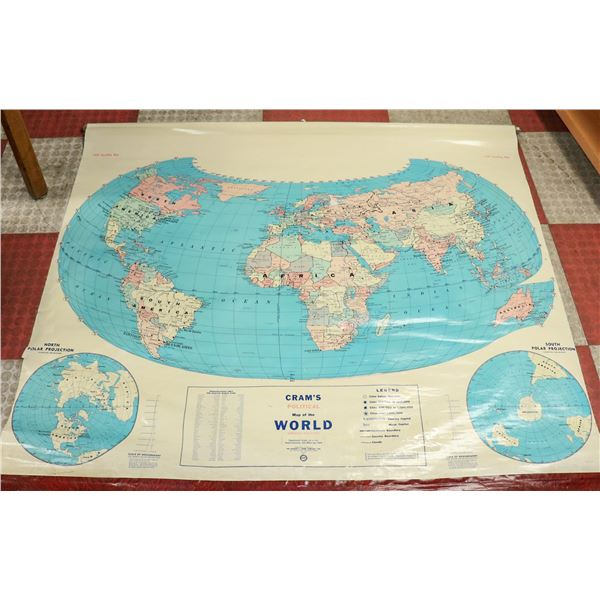 ANTIQUE SCHOOL MAP OF THE WORLD LARGE