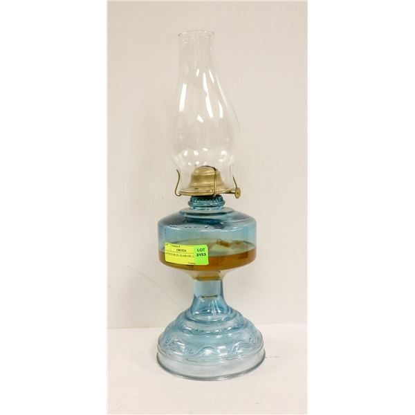 ANTIQUE BLUE GLASS OIL LANTERN