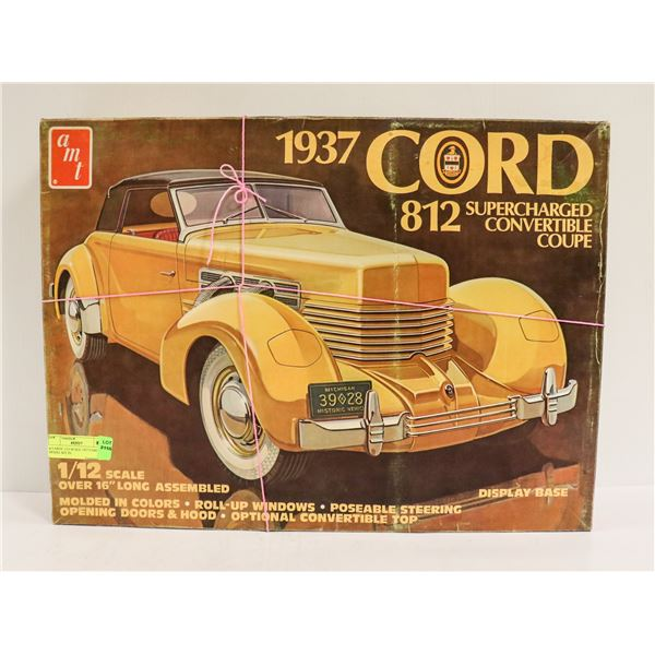 LARGE 1/12 SCALE 1937 CORD 812 MODEL KIT IN BOX