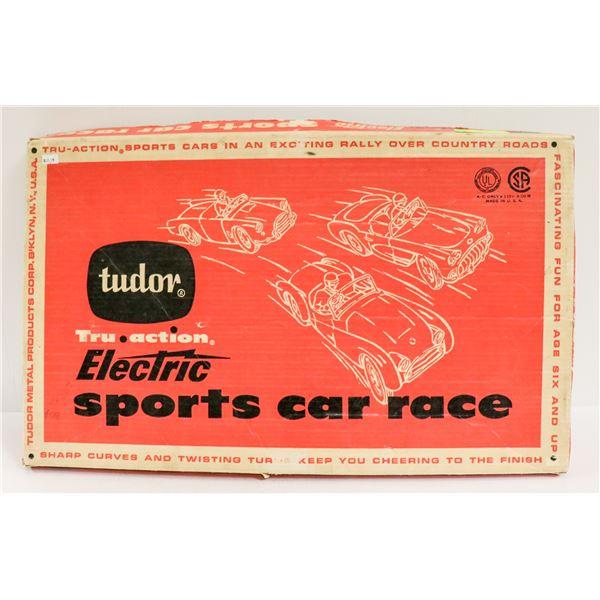1950S TUDOR SPORTS CAR RACE GAME IN BOX NO CARS