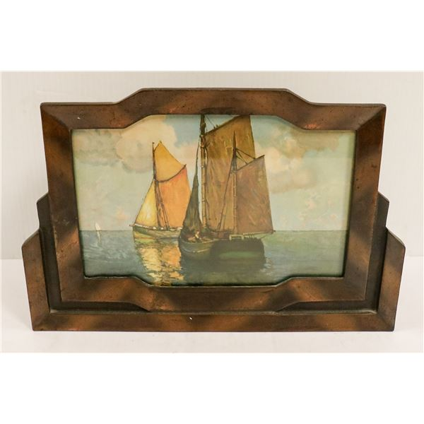 ANTIQUE BRASS PAINTED GLASS SHIP LAMP