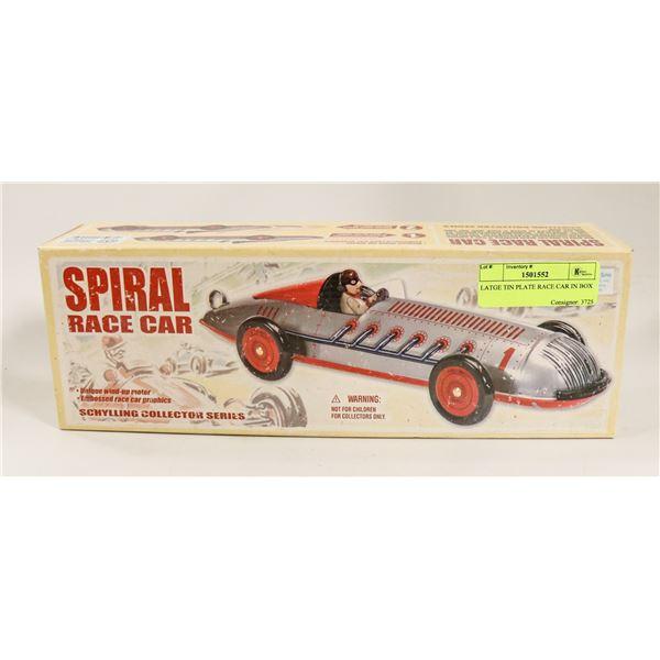 LARGE TIN PLATE RACE CAR IN BOX