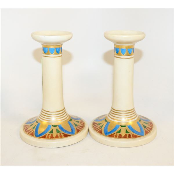 PAIR OF ANTIQUE HAND PAINTED CANDLESTICKS CIRCA