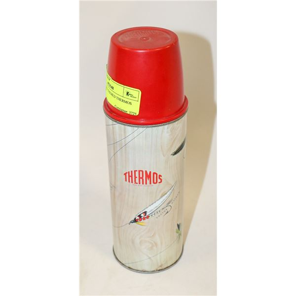 1950S FISHING THEMED THERMOS WITH LID