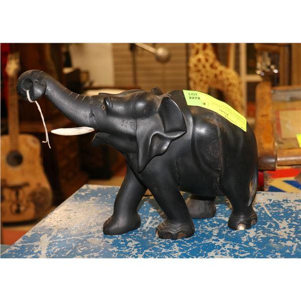 ANTIQUE EBONY CARVED ELEPHANT STATUE