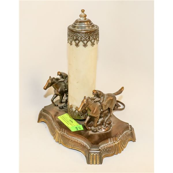 1920S RACE HORSE TABLE LAMP WITH FROSTED SHADE