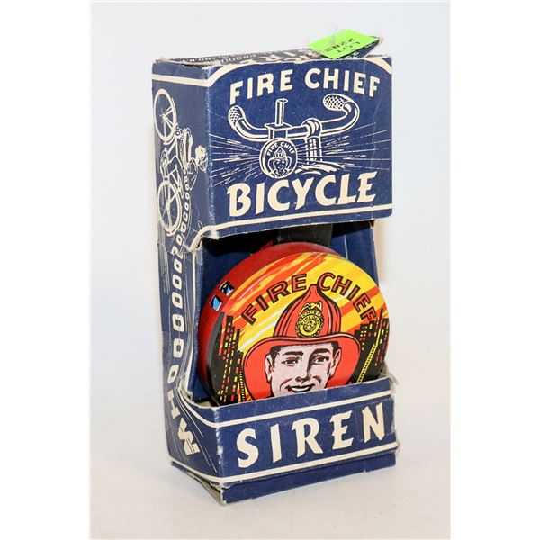 1940S TIN FORE CHIEF BIKE BELL IN BOX