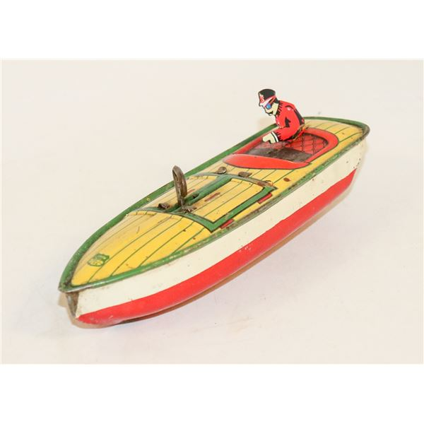 1930S AMERICAN J CHEIN WIND UP SPEED BOAT