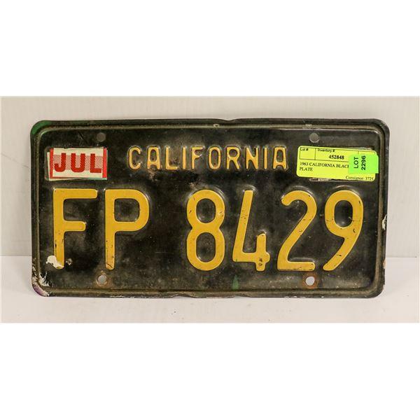1963 CALIFORNIA BLACK LICENSE PLATE