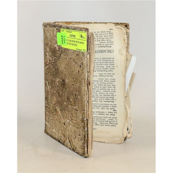 ANTIQUE COOK BOOK WITH MANY HAND WRITTEN RECIPES