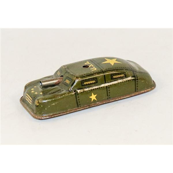 1940S US TIN ARMY TANK CAR TOY