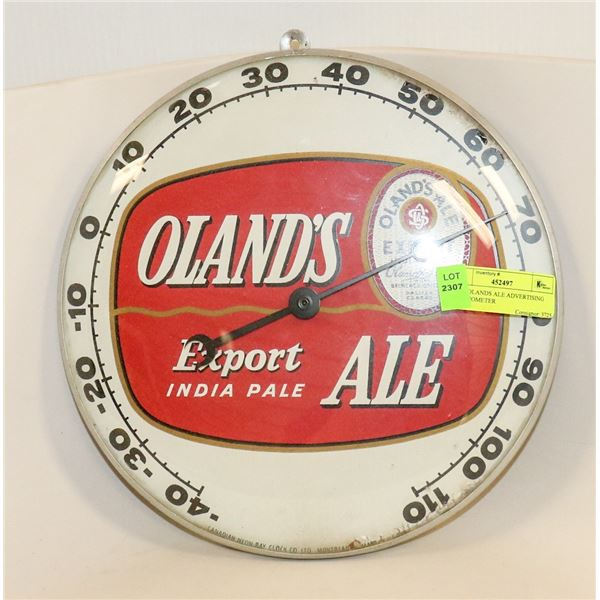 1950S OLANDS ALE ADVERTISING THERMOMETER