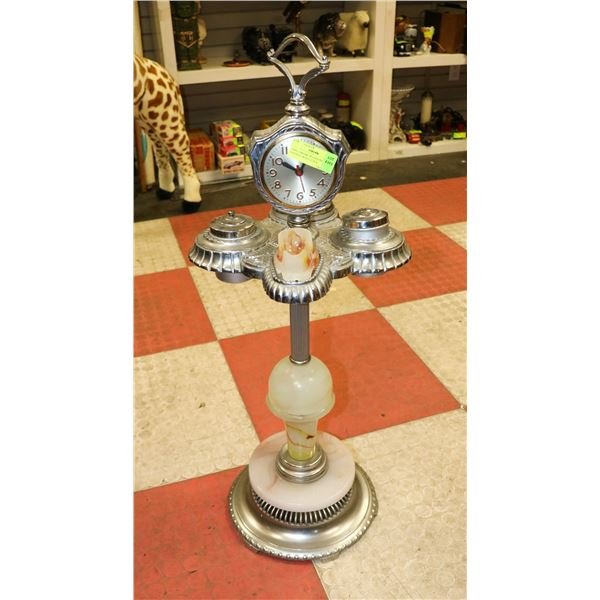 1940S CHROME PLATED PIPE STAND ASHTRAY WITH CLOCK