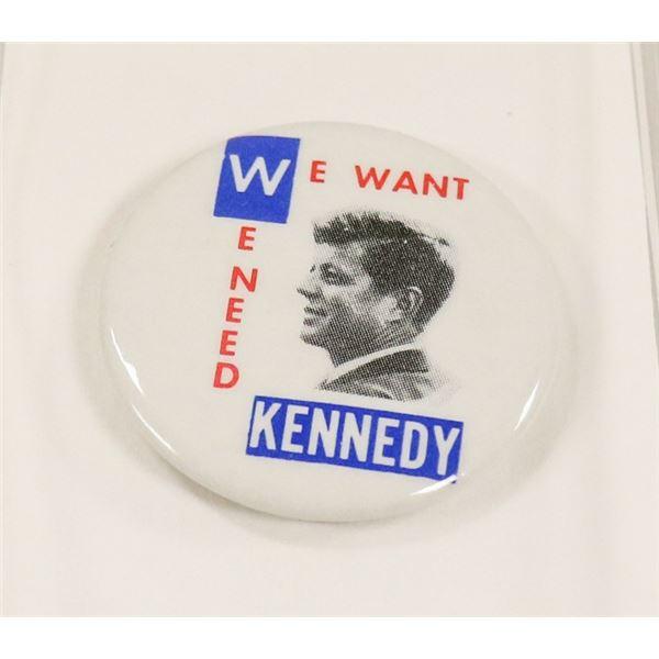 JFK PRESIDENT CAMPAIGN PIN