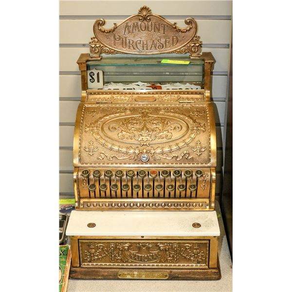 ANTIQUE BRASS NATIONAL CANDY STORE REGISTER WITH