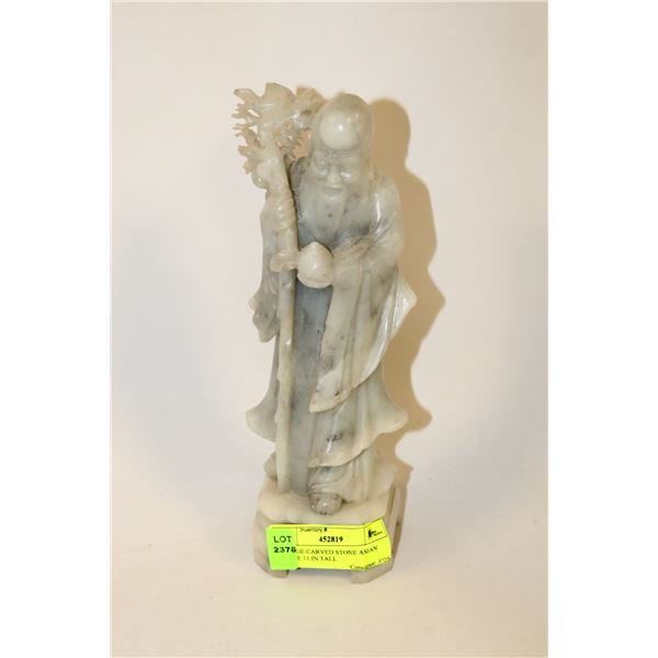 VINTAGE CARVED STONE ASIAN STATUE 11 IN TALL