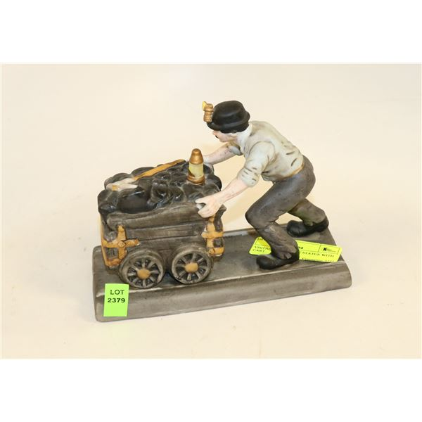 VINTAGE COAL MINE STATUE WITH CART