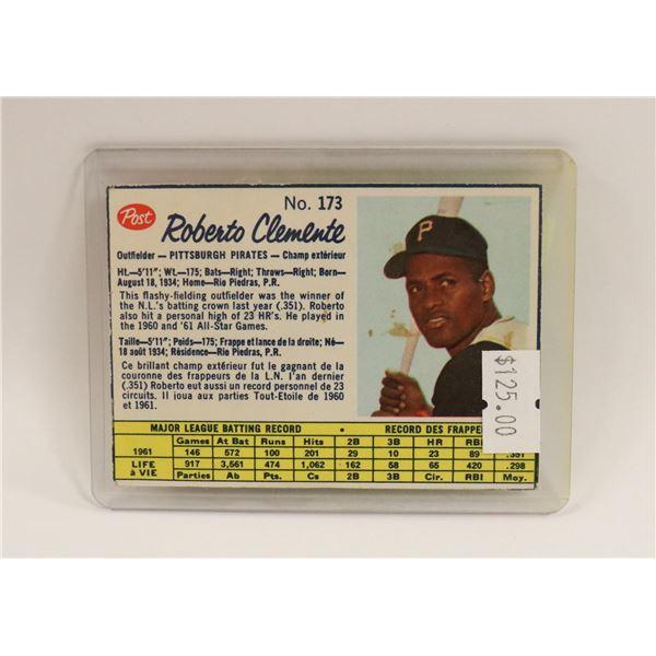1961 ROBERTO CLEMENTE POST BASEBALL CARD