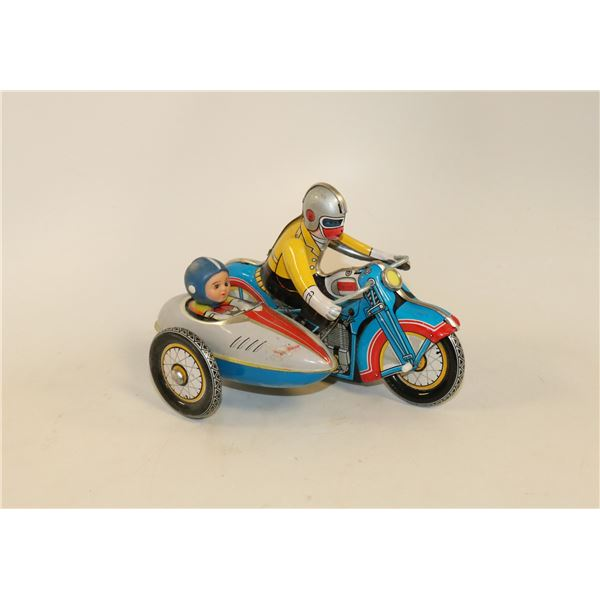 VINTAGE CLOCKWORK TIN MOTORCYCLE WITH SIDE CAR