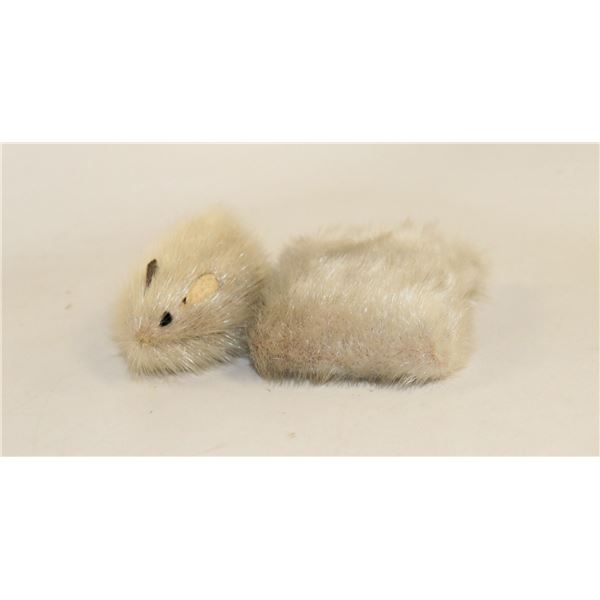 PAIR OF INUIT MADE TUFTED ITEMS OF MOUSE ETC