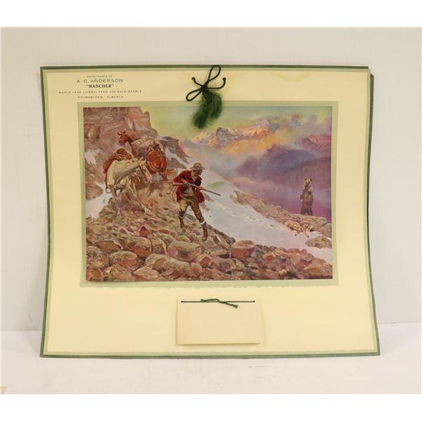 1917 CHARLES M RUSSEL CALENDAR COWBOY ART