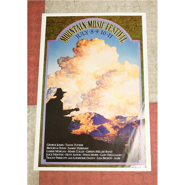 MOUNTAIN MUSIC FEST COUNTRY POSTER SIGNED BOB