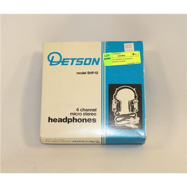 VINTAGE DETSON 4 CHANNEL HEADPHONES IN BOX
