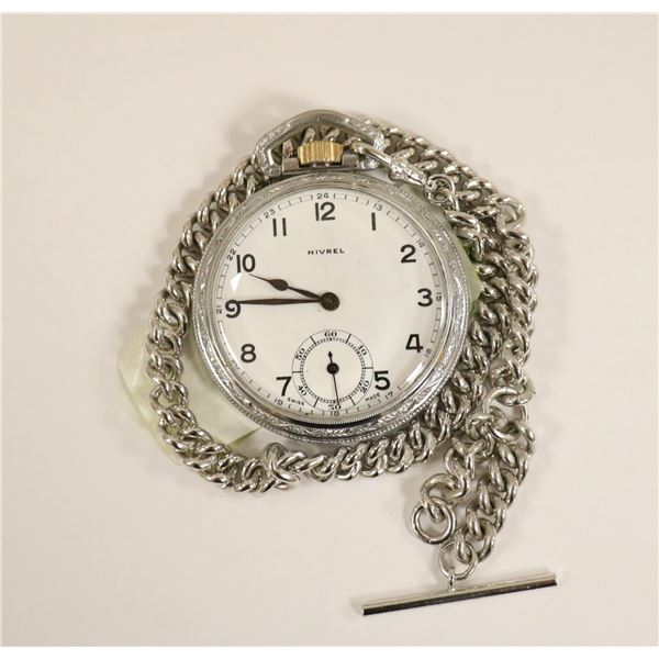ANTIQUE NIVREL POCKET WATCH WITH CHAIN WORKING