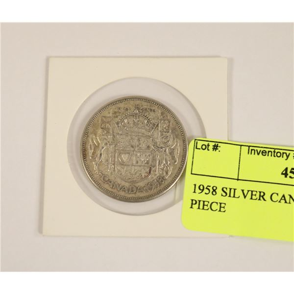 1958 SILVER CANADIAN 50 CENT PIECE
