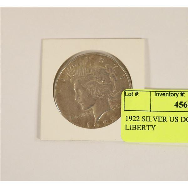 1922 SILVER US DOLLAR COIN LIBERTY