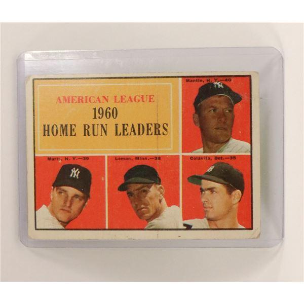 1961 MICKEY MANTLE HOME RUN LEADER CARD