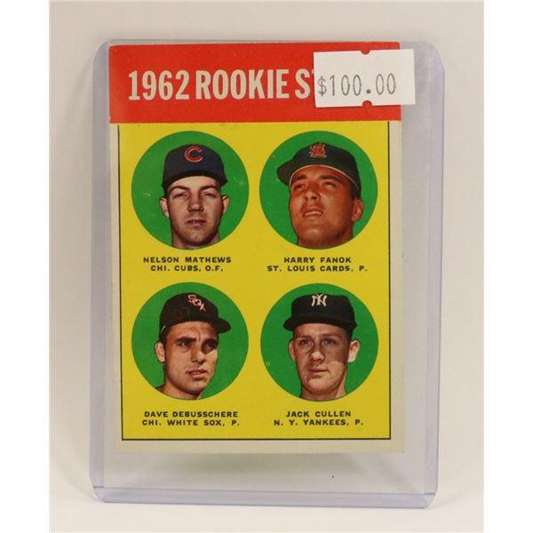 1962 BASEBALL ROOKIE STAR CARD