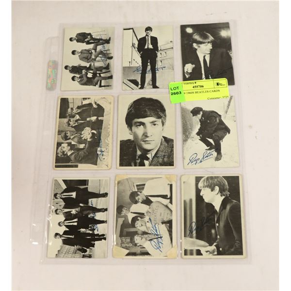 LOT OF 9 1960S BEATLES CARDS