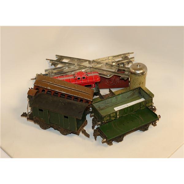 PRE WAR GERMAN TIN TRAIN CARS AND TRACK RARE