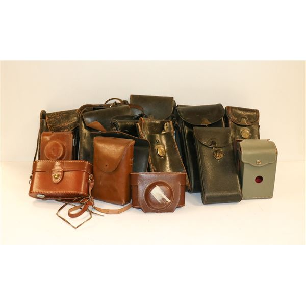 LARGE ASSORTED ANTIQUE LEATHER CAMERA CASE