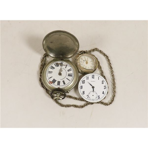 LOT OF 3 ANTIQUE POCKET WATCHES FOR REPAIR