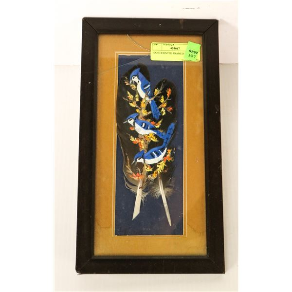 HAND PAINTED FRAMED FEATHERS