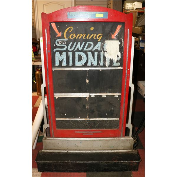 ANTIQUE MOVIE THEATRE LOBBY POSTER STAND FROM