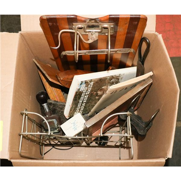 BOX OF ASSORTED VINTAGE OFFICE AND DESK SUPPLIES