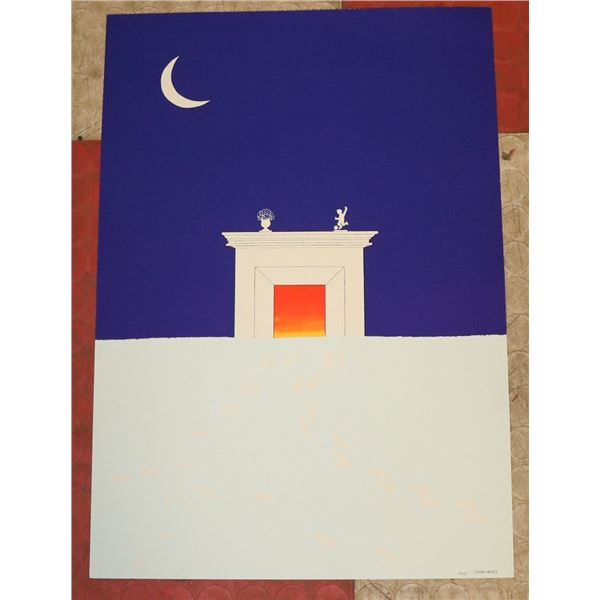 JEAN SARIANO SIGNED LITHO OF NIGHT FIREPLACE