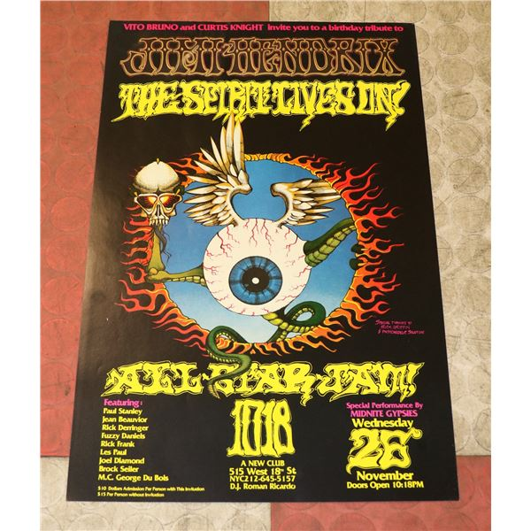 JIMI HENDRIX TRIBUTE CONCERT POSTER BY RICK
