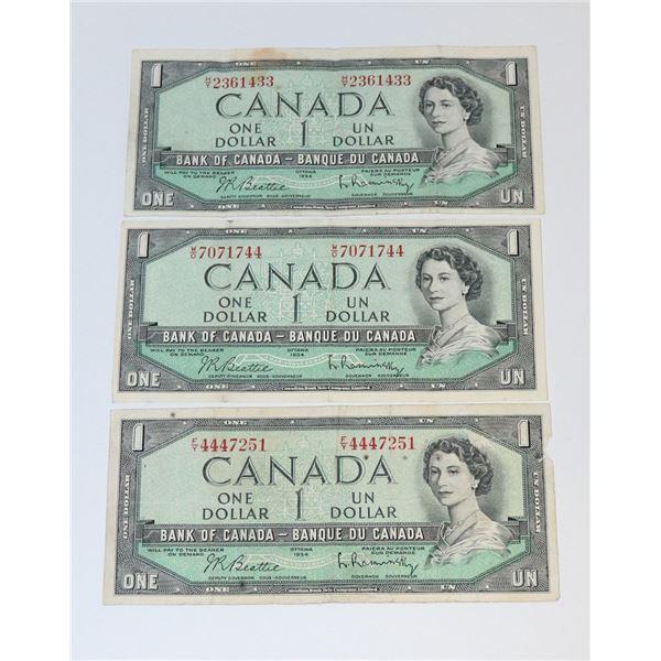 LOT OF THREE 1954 CANADIAN $1 BILLS