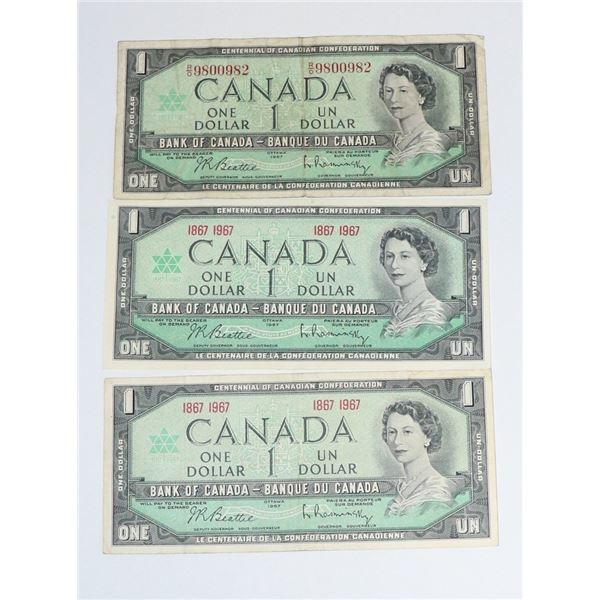 LOT OF THREE 1967 CANADIAN $1 BILLS