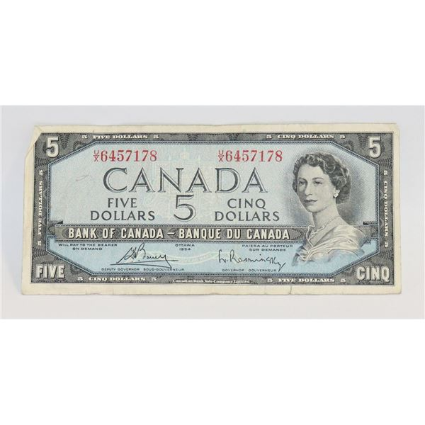 1954 CANADIAN $5 BILL COLLECTIBLE