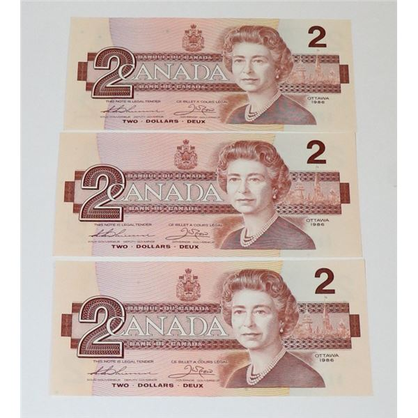 LOT OF THREE VINTAGE CANADIAN $2 BILLS